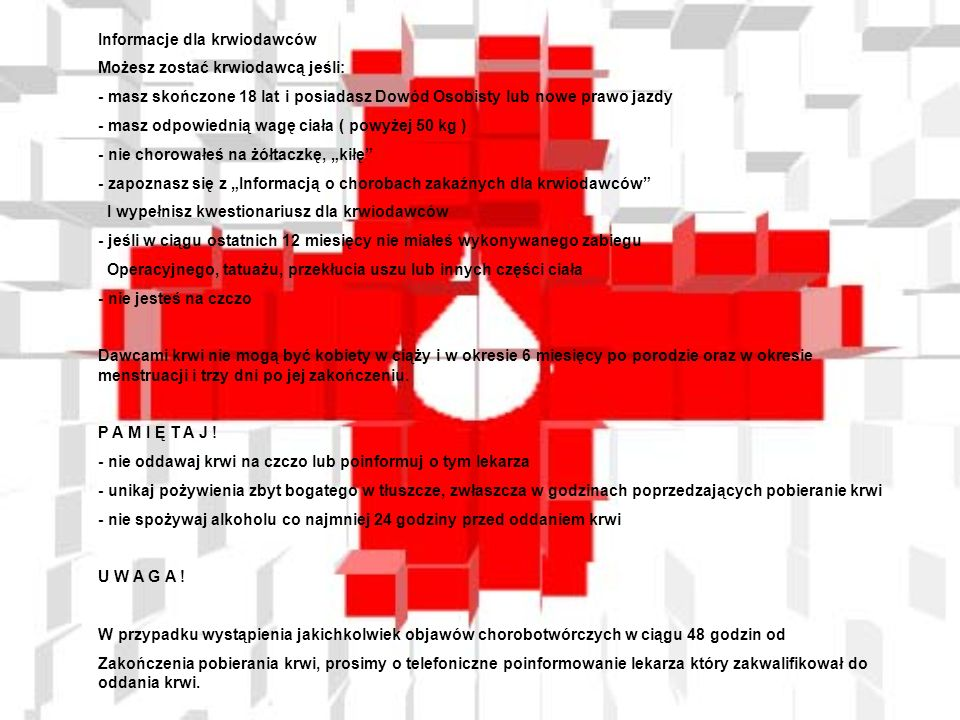 Informacje dla krwiodawców