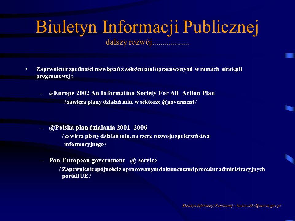 Biuletyn Informacji Publicznej dalszy rozwój..................