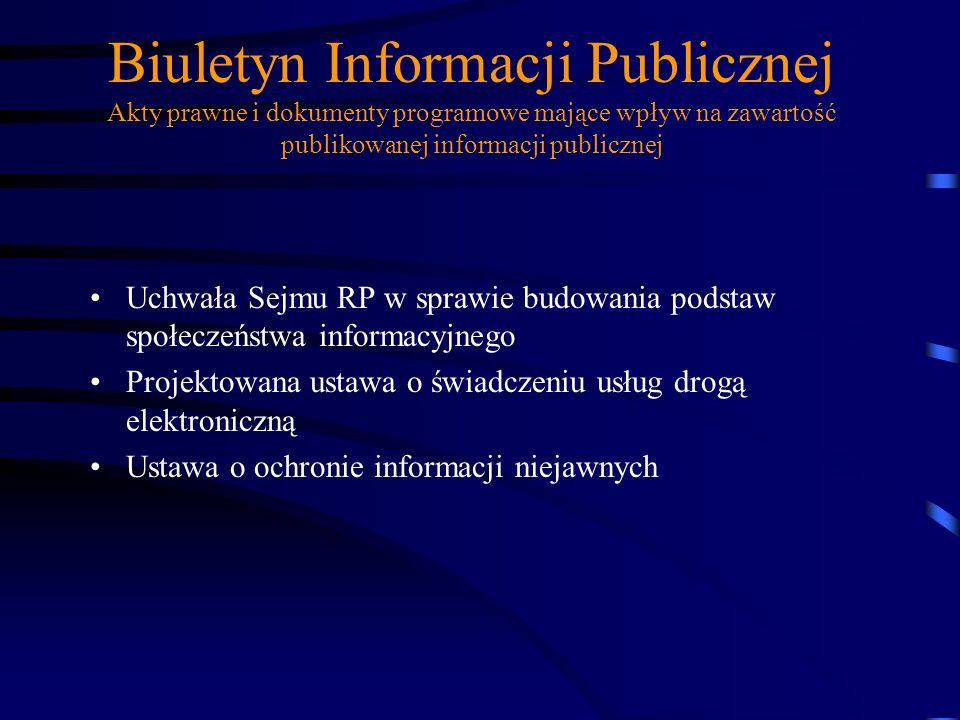 Biuletyn Informacji Publicznej Akty prawne i dokumenty programowe mające wpływ na zawartość publikowanej informacji publicznej