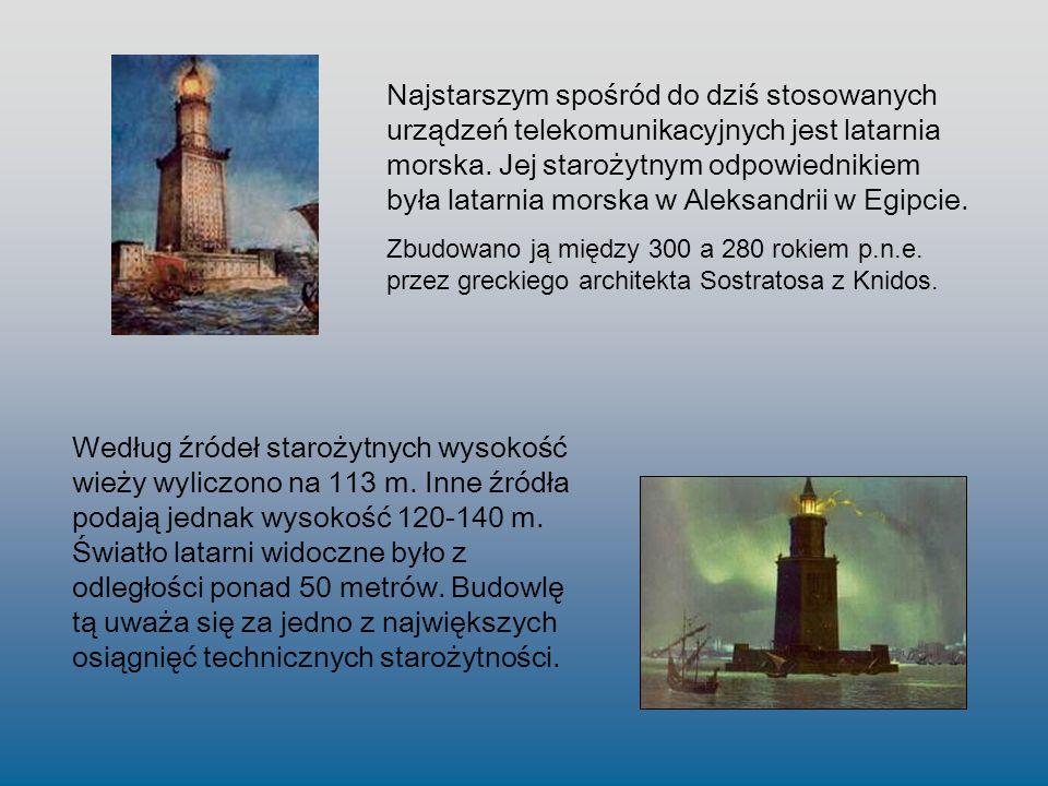 Najstarszym spośród do dziś stosowanych urządzeń telekomunikacyjnych jest latarnia morska. Jej starożytnym odpowiednikiem była latarnia morska w Aleksandrii w Egipcie.