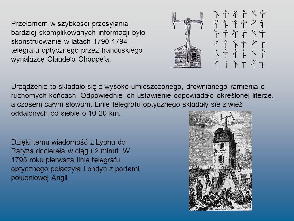 Przełomem w szybkości przesyłania bardziej skomplikowanych informacji było skonstruowanie w latach 1790-1794 telegrafu optycznego przez francuskiego wynalazcę Claude'a Chappe'a.