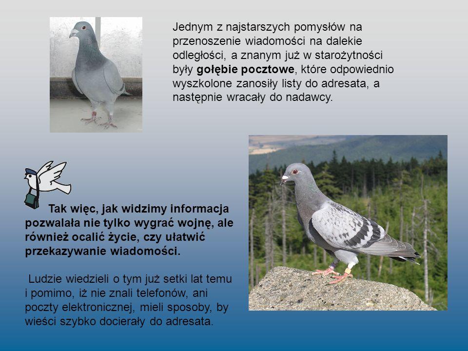 Jednym z najstarszych pomysłów na przenoszenie wiadomości na dalekie odległości, a znanym już w starożytności były gołębie pocztowe, które odpowiednio wyszkolone zanosiły listy do adresata, a następnie wracały do nadawcy.