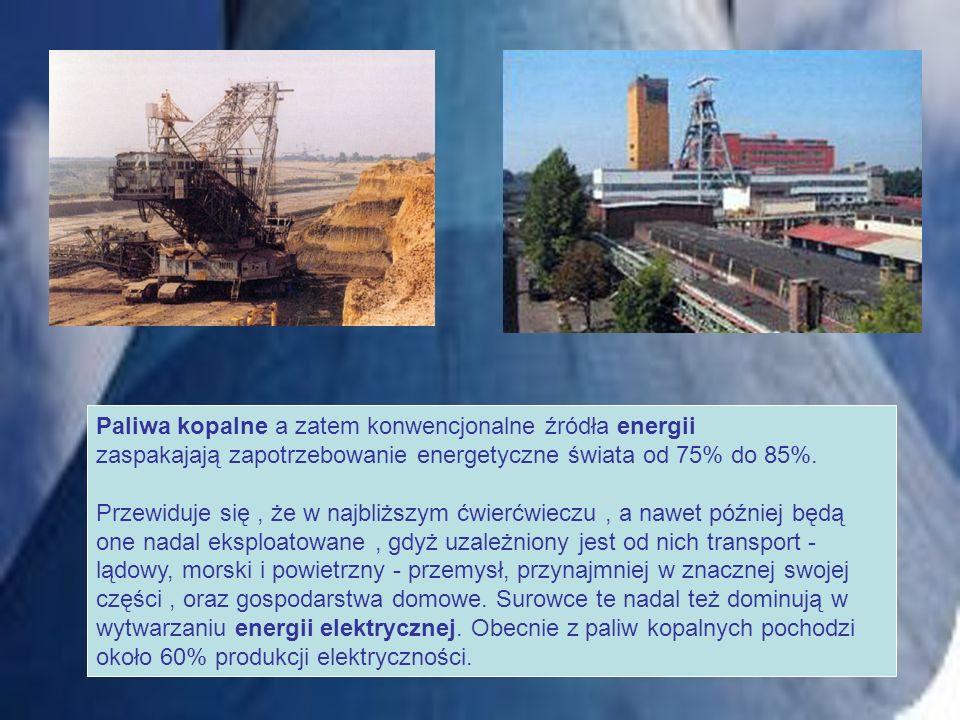 Paliwa kopalne a zatem konwencjonalne źródła energii zaspakajają zapotrzebowanie energetyczne świata od 75% do 85%.