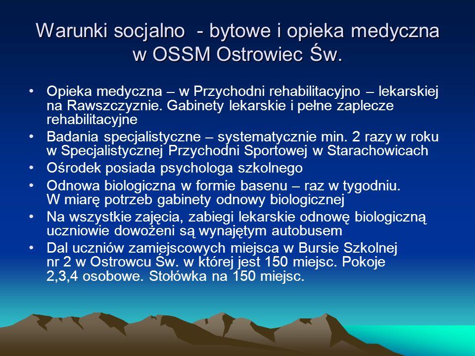 Warunki socjalno - bytowe i opieka medyczna w OSSM Ostrowiec Św.