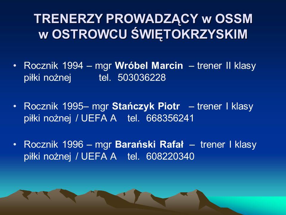 TRENERZY PROWADZĄCY w OSSM w OSTROWCU ŚWIĘTOKRZYSKIM