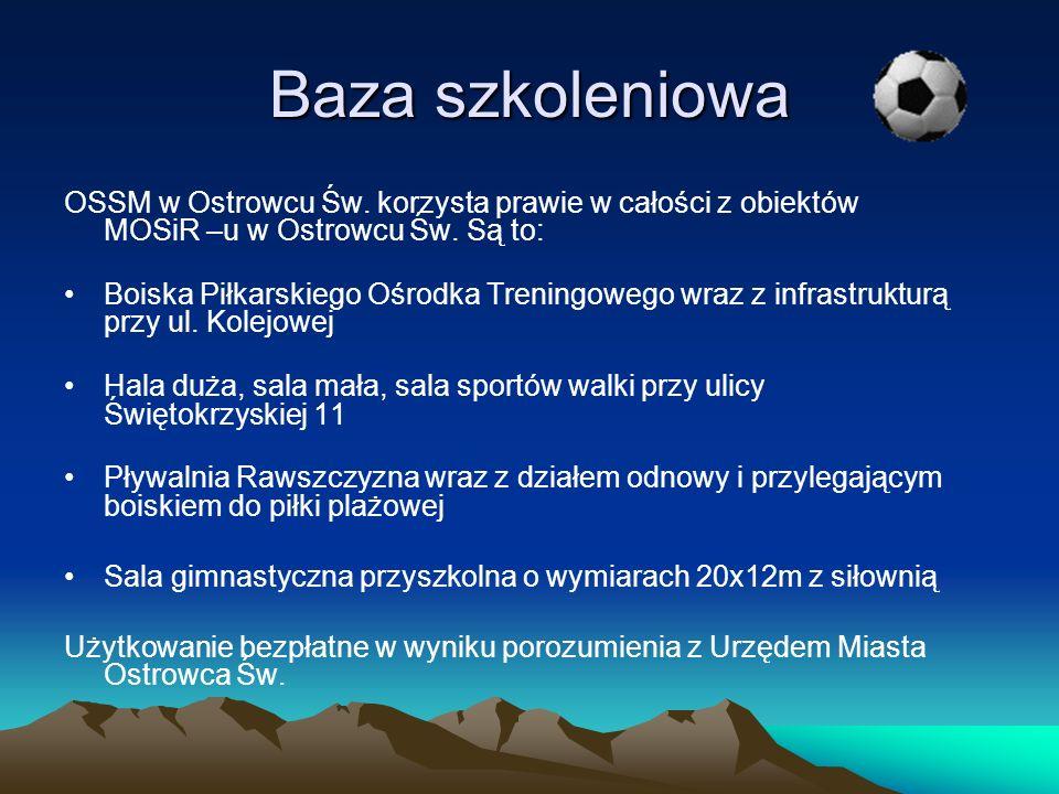 Baza szkoleniowa OSSM w Ostrowcu Św. korzysta prawie w całości z obiektów MOSiR –u w Ostrowcu Św. Są to: