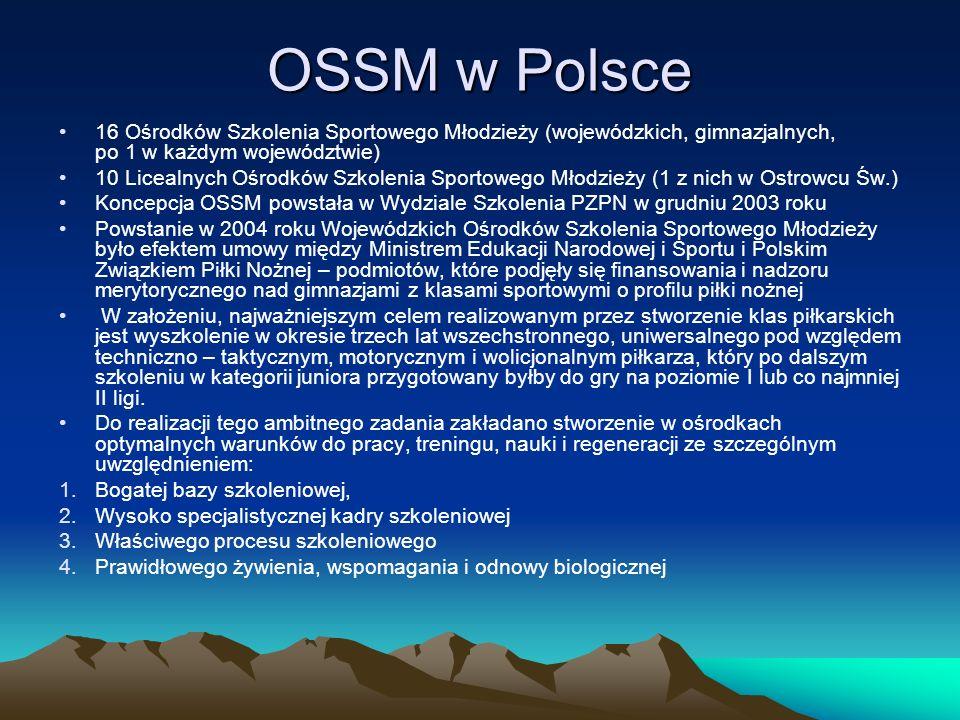 OSSM w Polsce 16 Ośrodków Szkolenia Sportowego Młodzieży (wojewódzkich, gimnazjalnych, po 1 w każdym województwie)