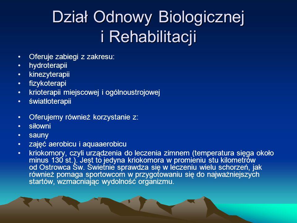Dział Odnowy Biologicznej i Rehabilitacji
