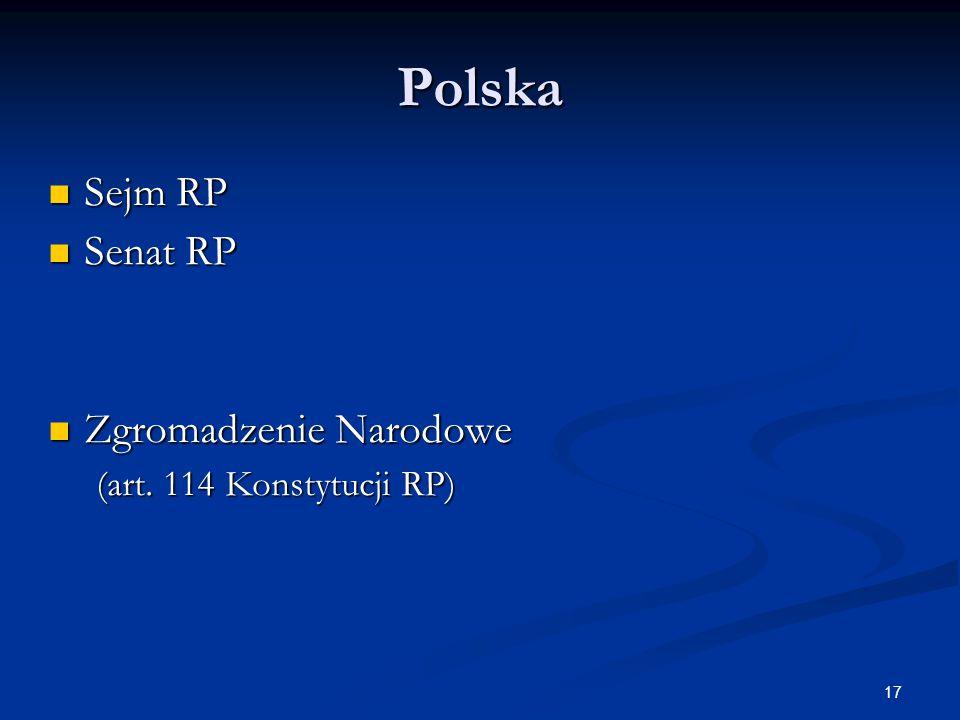 Polska Sejm RP Senat RP Zgromadzenie Narodowe