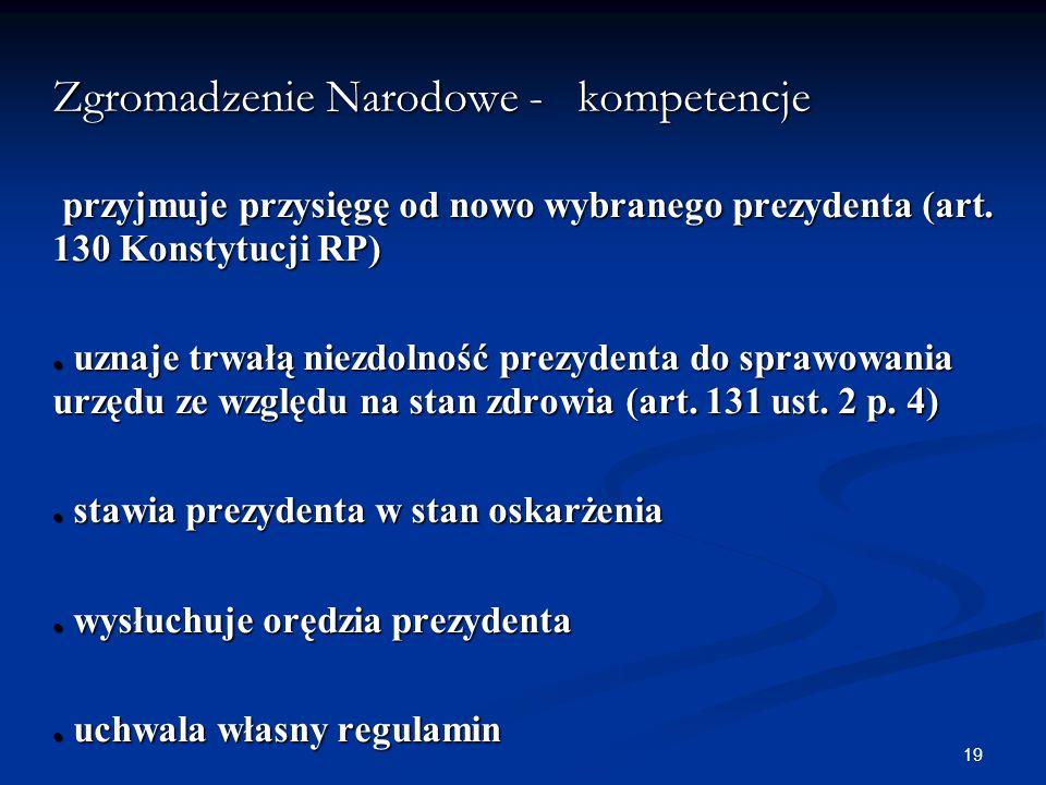 Zgromadzenie Narodowe - kompetencje