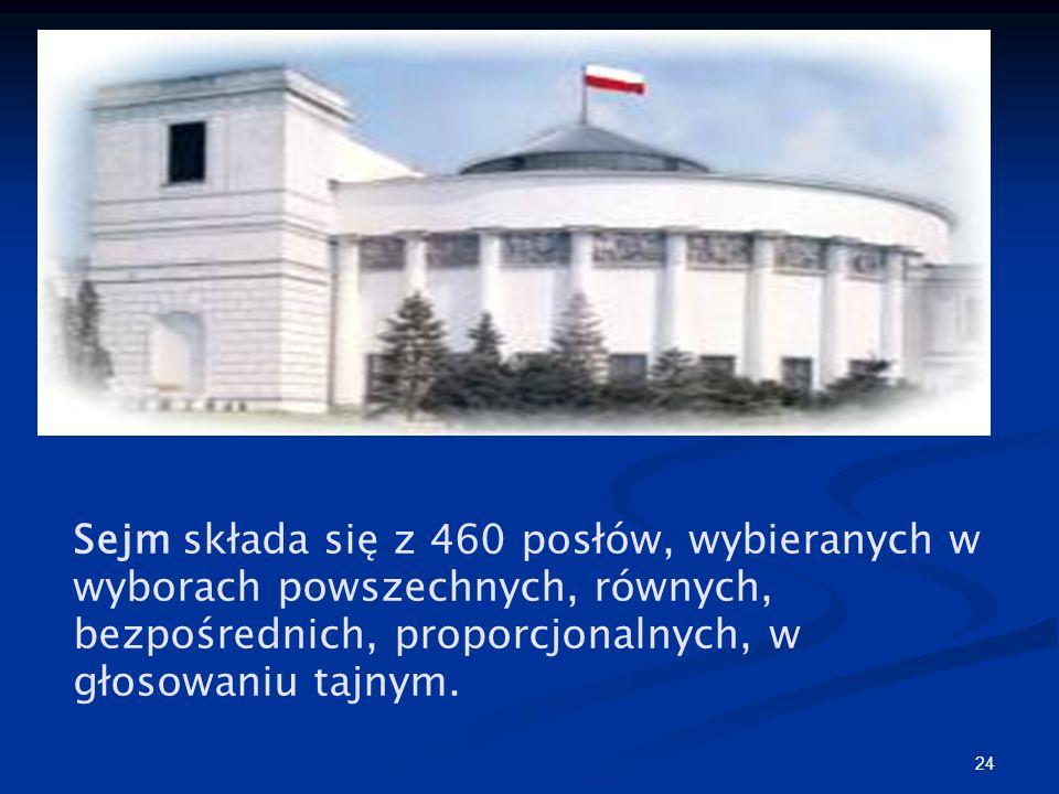 Sejm składa się z 460 posłów, wybieranych w wyborach powszechnych, równych, bezpośrednich, proporcjonalnych, w głosowaniu tajnym.
