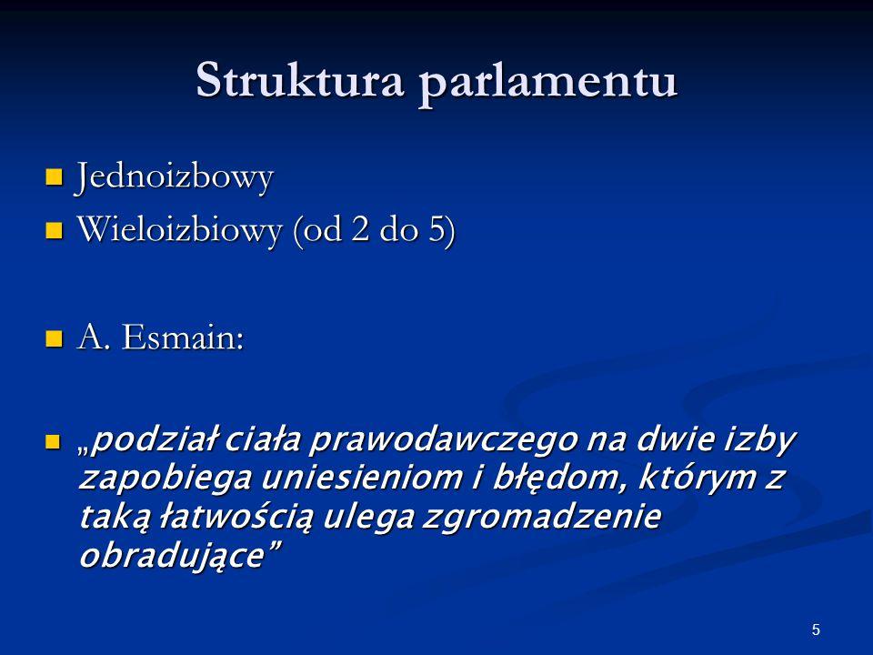 Struktura parlamentu Jednoizbowy Wieloizbiowy (od 2 do 5) A. Esmain: