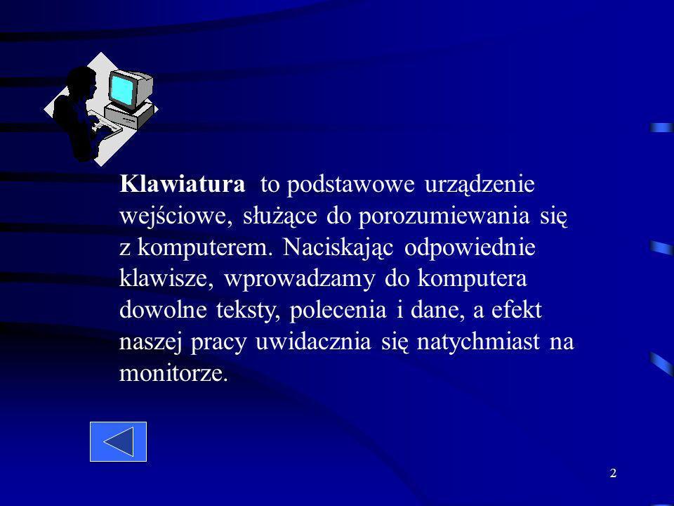 Klawiatura to podstawowe urządzenie wejściowe, służące do porozumiewania się z komputerem.