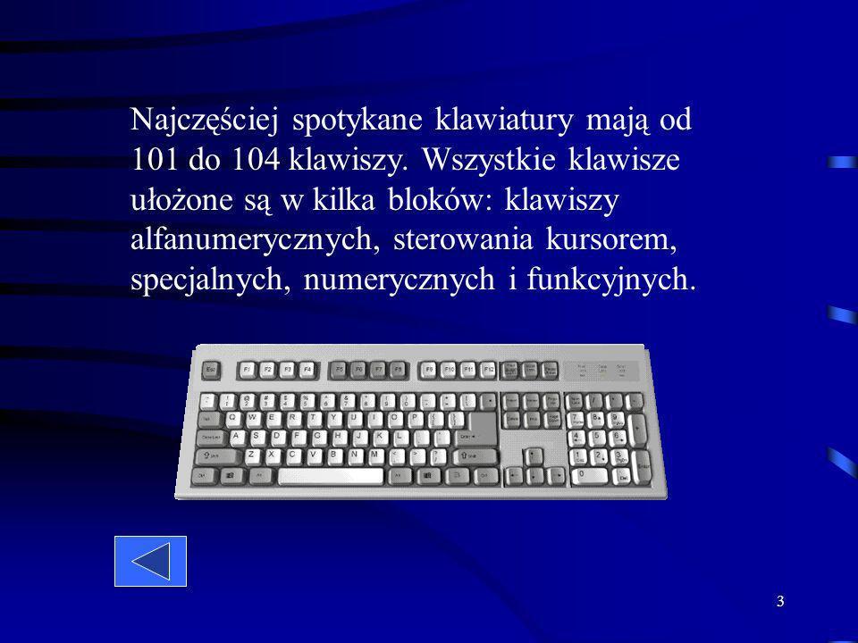 Najczęściej spotykane klawiatury mają od 101 do 104 klawiszy