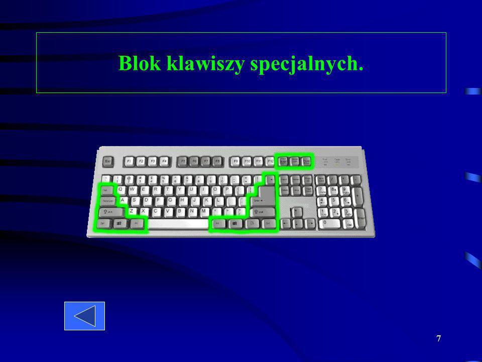 Blok klawiszy specjalnych.
