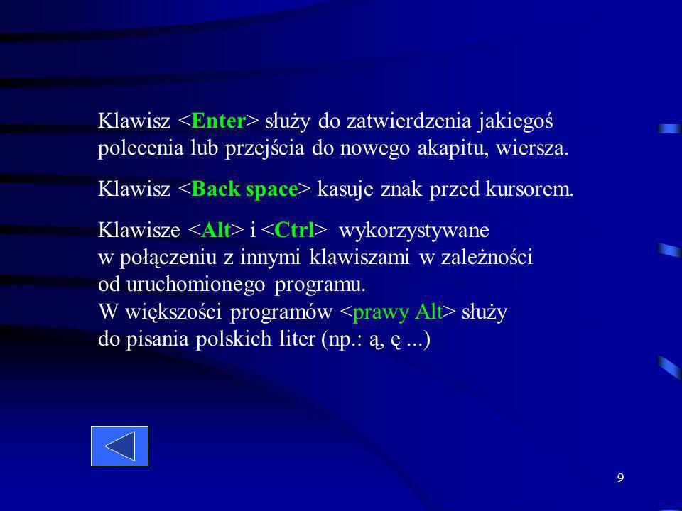 Klawisz <Enter> służy do zatwierdzenia jakiegoś polecenia lub przejścia do nowego akapitu, wiersza.Klawisz <Back space> kasuje znak przed kursorem.