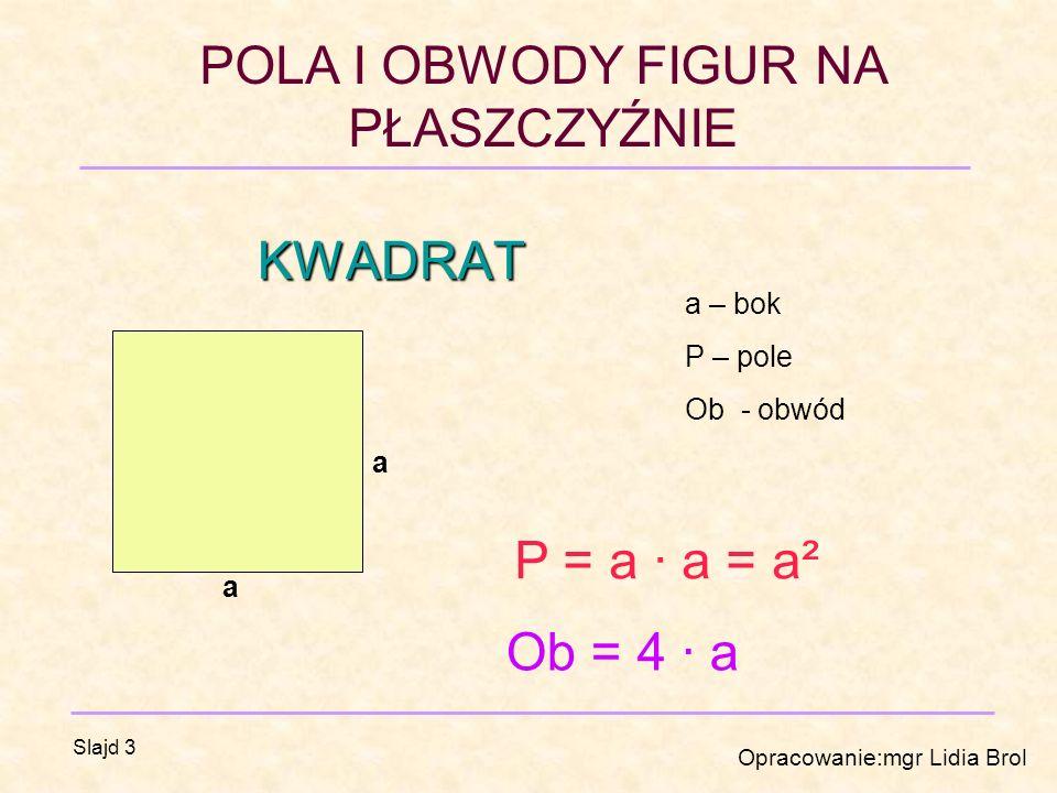 KWADRAT a – bok P – pole Ob - obwód a P = a · a = a² a Ob = 4 · a