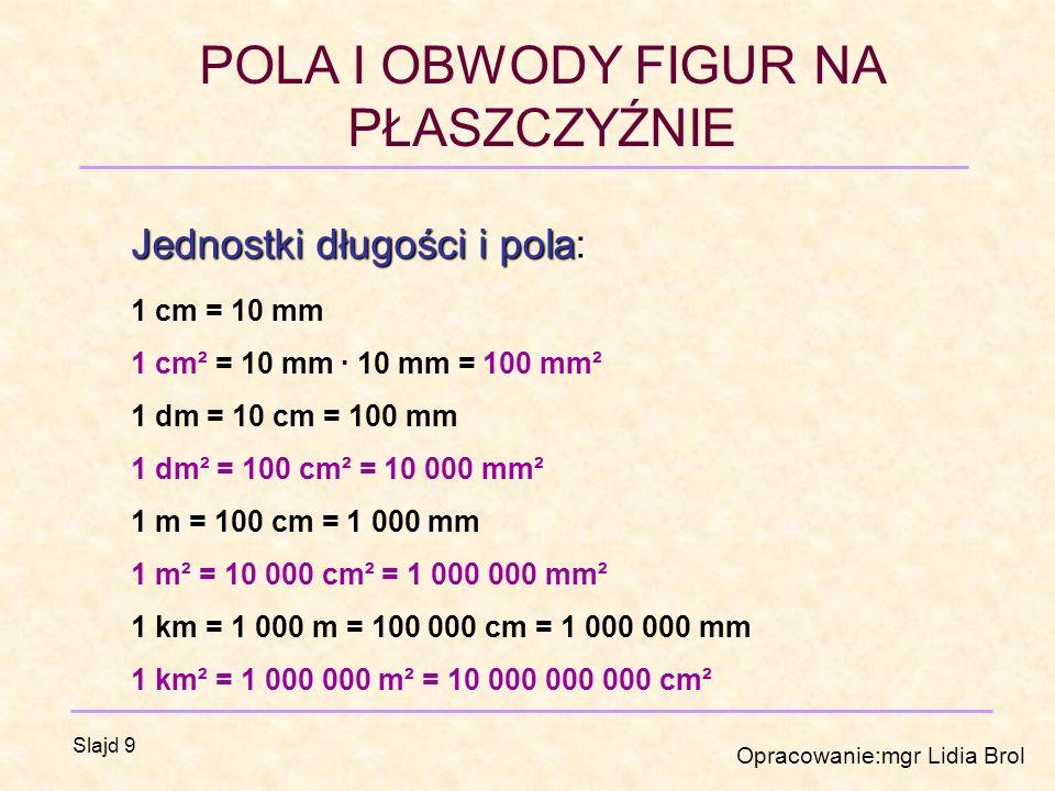 Jednostki długości i pola: