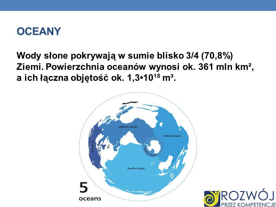 Oceany Wody słone pokrywają w sumie blisko 3/4 (70,8%) Ziemi.