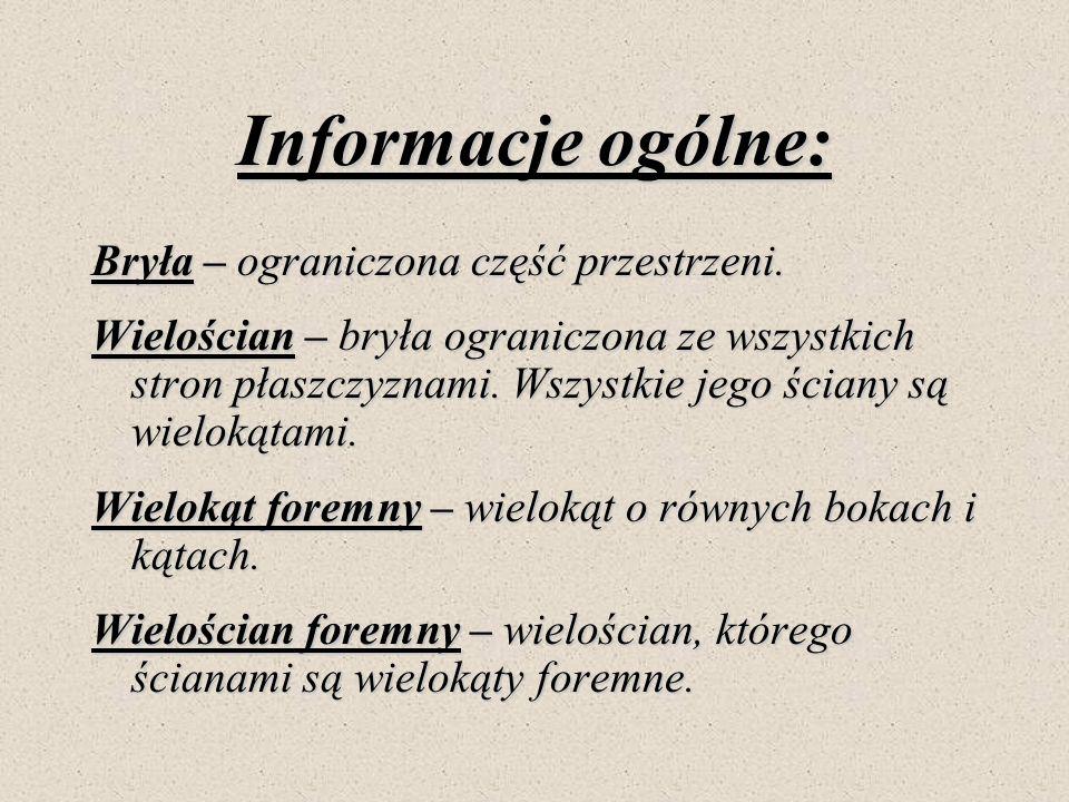 Informacje ogólne: Bryła – ograniczona część przestrzeni.