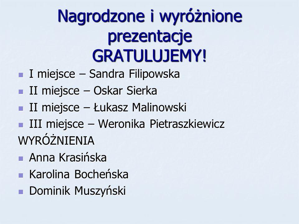 Nagrodzone i wyróżnione prezentacje GRATULUJEMY!
