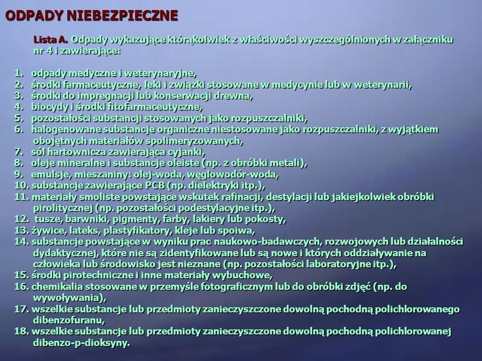 ODPADY NIEBEZPIECZNE Lista A. Odpady wykazujące którąkolwiek z właściwości wyszczególnionych w załączniku nr 4 i zawierające: