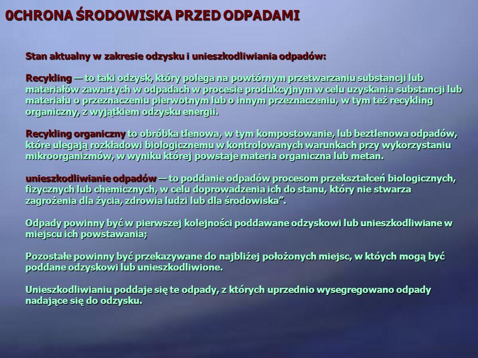 0CHRONA ŚRODOWISKA PRZED ODPADAMI