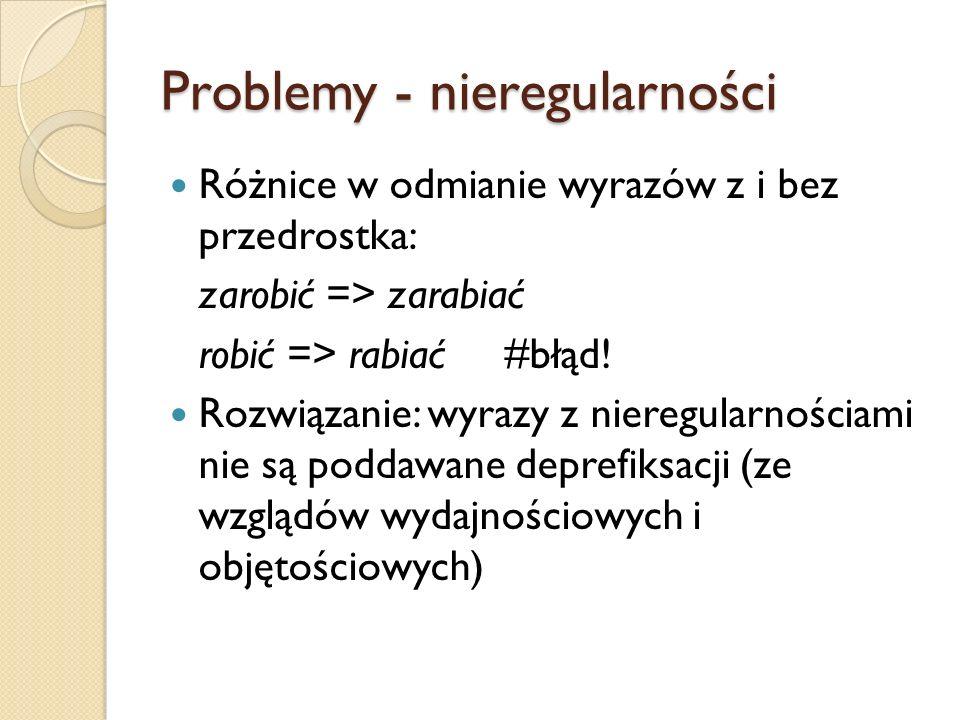 Problemy - nieregularności