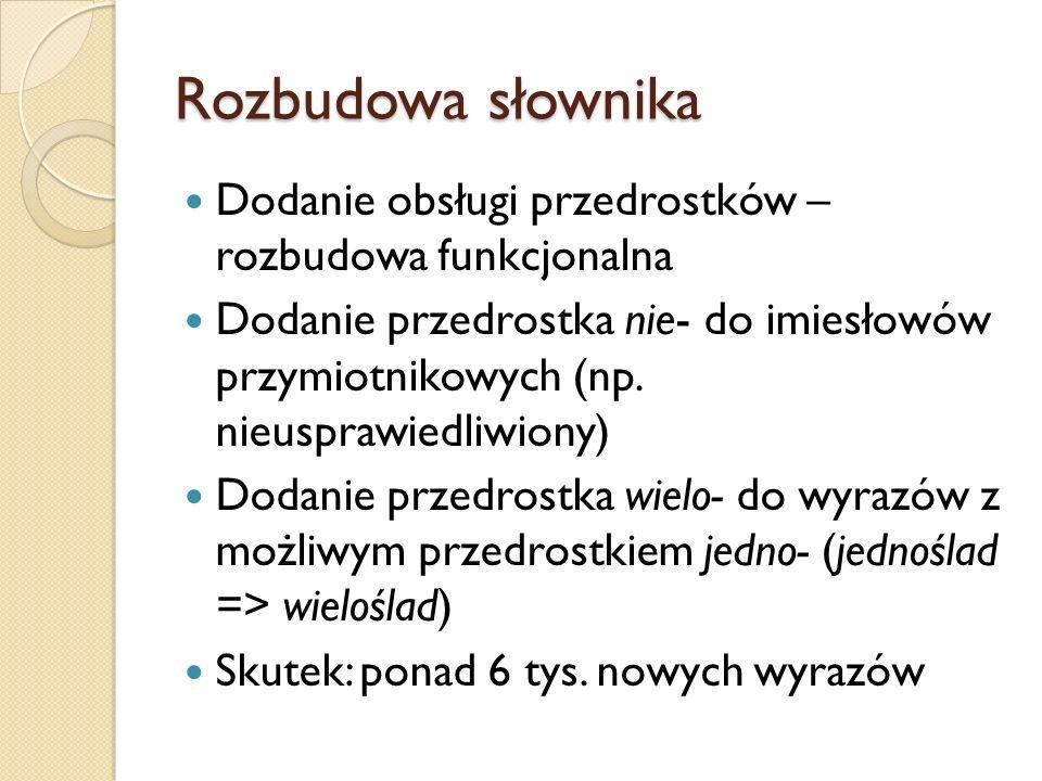 Rozbudowa słownika Dodanie obsługi przedrostków – rozbudowa funkcjonalna.