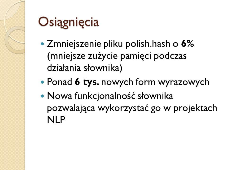 Osiągnięcia Zmniejszenie pliku polish.hash o 6% (mniejsze zużycie pamięci podczas działania słownika)