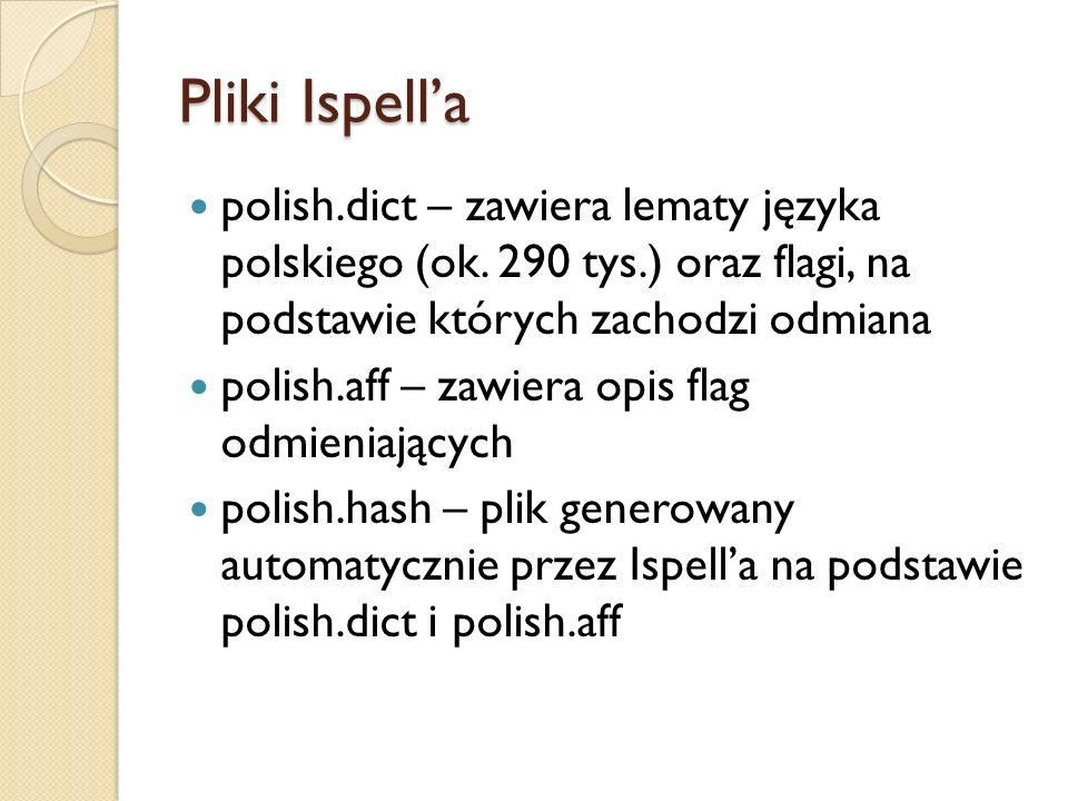 Pliki Ispell'a polish.dict – zawiera lematy języka polskiego (ok. 290 tys.) oraz flagi, na podstawie których zachodzi odmiana.