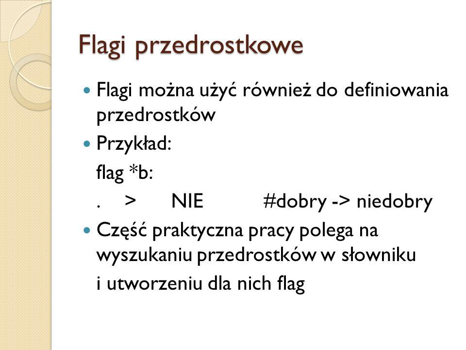 Flagi przedrostkowe Flagi można użyć również do definiowania przedrostków. Przykład: flag *b: . > NIE #dobry -> niedobry.