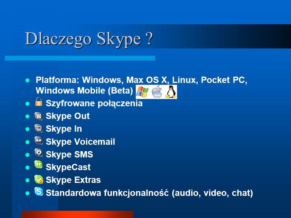 Dlaczego Skype Platforma: Windows, Max OS X, Linux, Pocket PC, Windows Mobile (Beta) Szyfrowane połączenia.