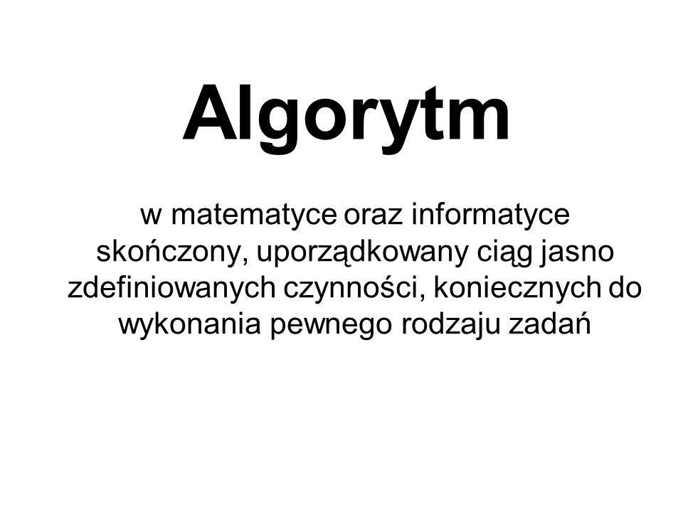 Algorytm w matematyce oraz informatyce skończony, uporządkowany ciąg jasno zdefiniowanych czynności, koniecznych do wykonania pewnego rodzaju zadań.