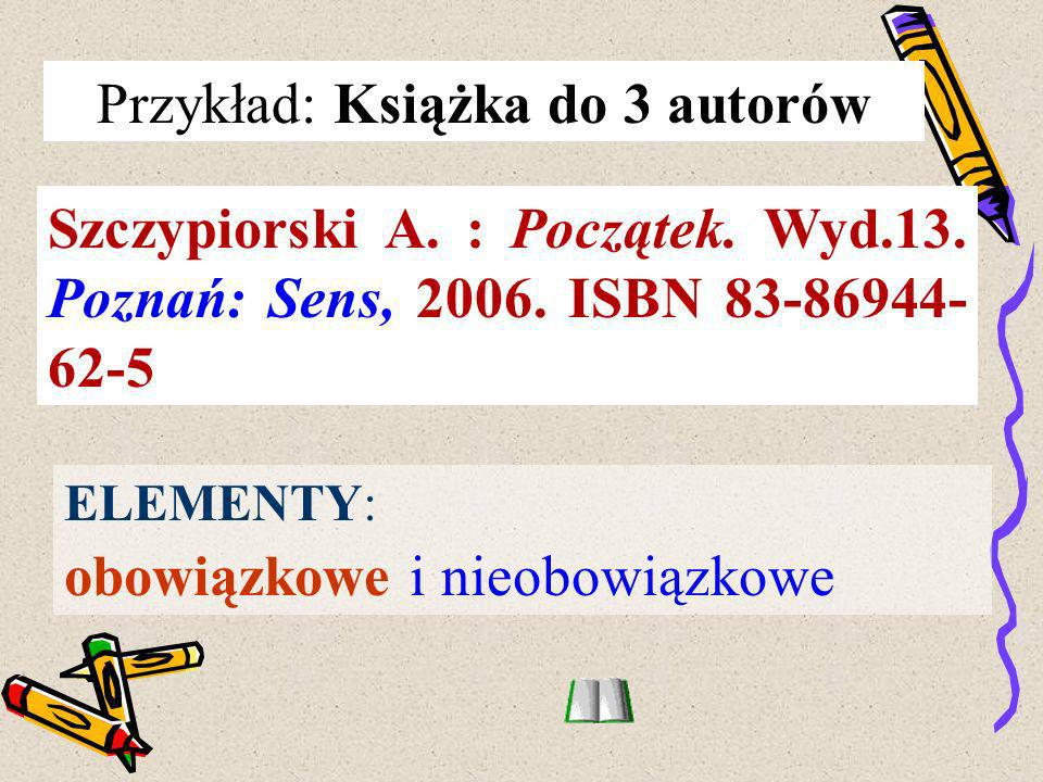 Przykład: Książka do 3 autorów