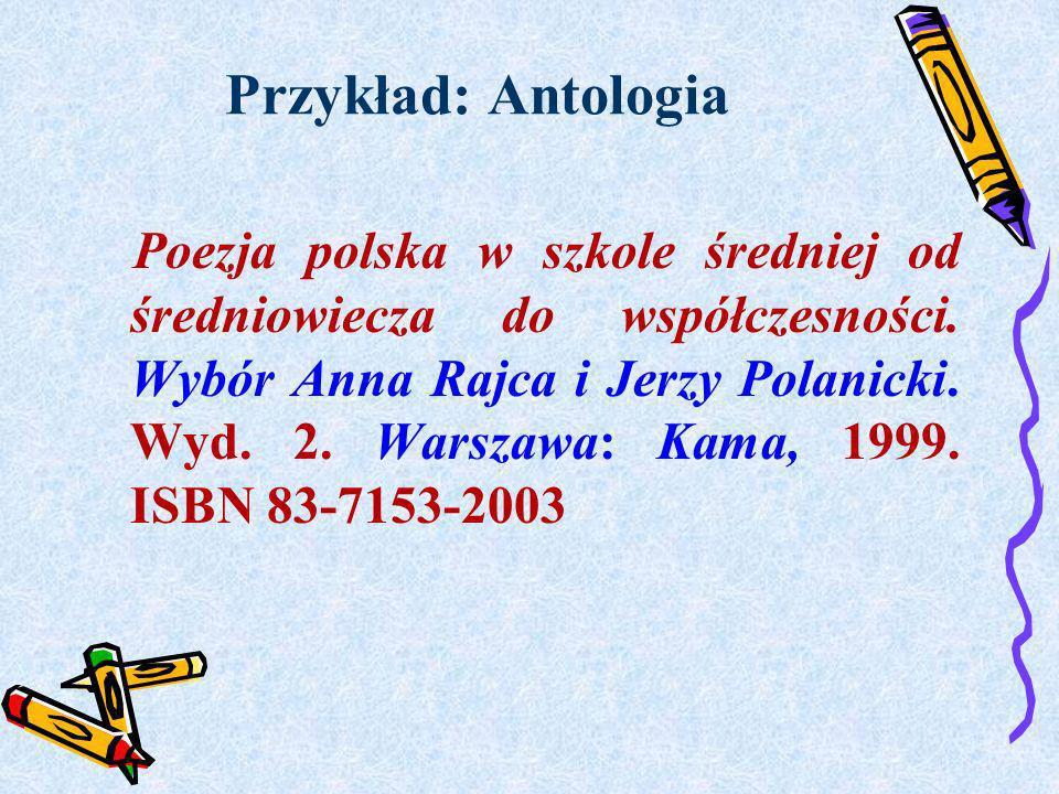 Przykład: Antologia