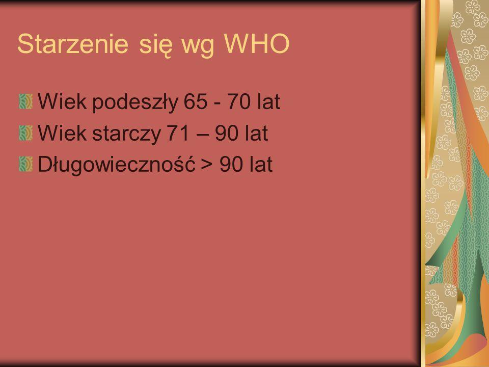 Starzenie się wg WHO Wiek podeszły 65 - 70 lat