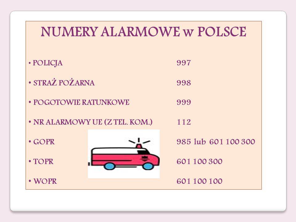 NUMERY ALARMOWE w POLSCE