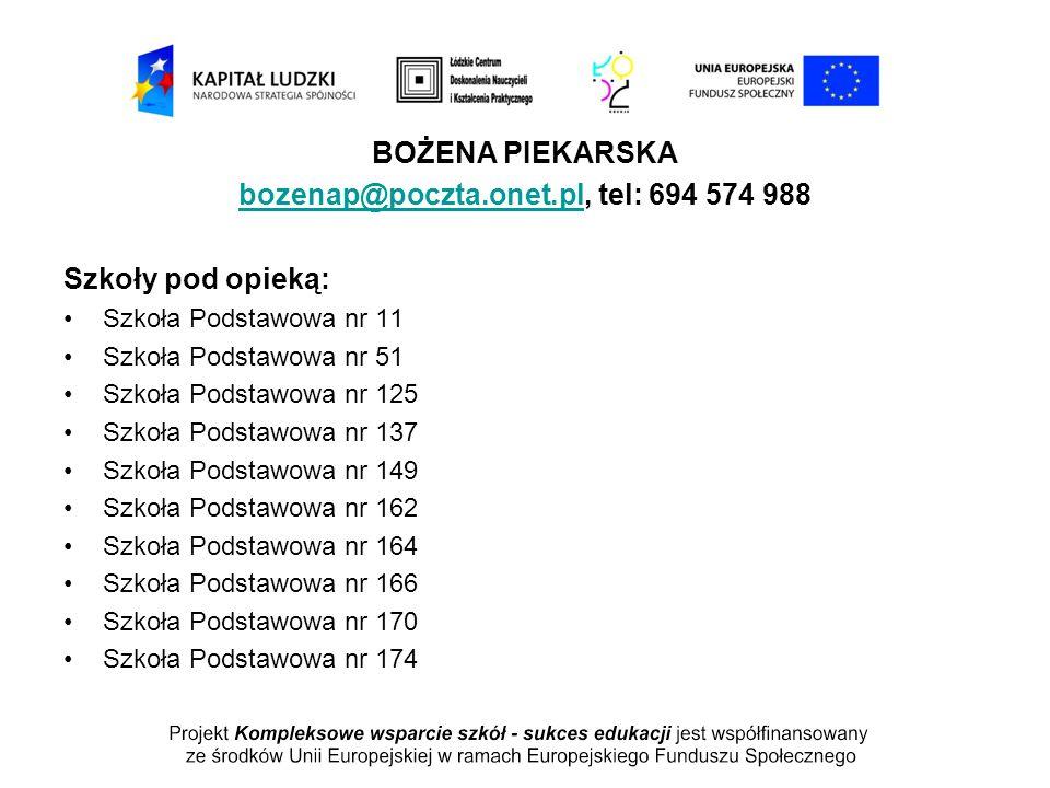 bozenap@poczta.onet.pl, tel: 694 574 988