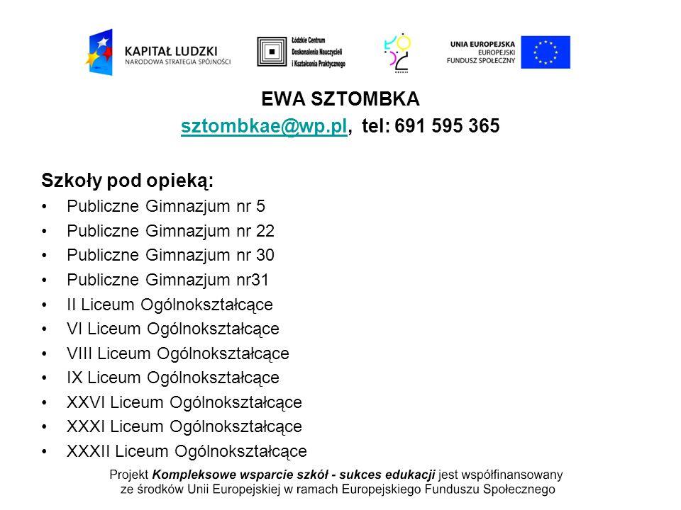 EWA SZTOMBKA sztombkae@wp.pl, tel: 691 595 365
