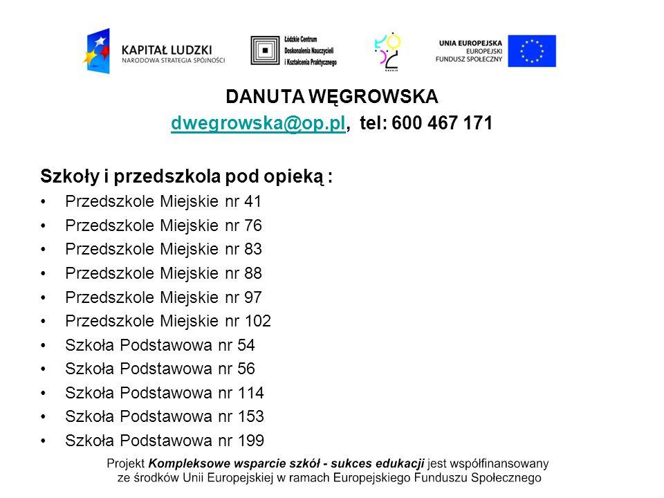 DANUTA WĘGROWSKA dwegrowska@op.pl, tel: 600 467 171