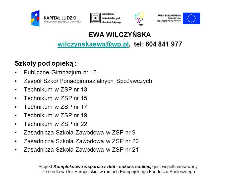 wilczynskaewa@wp.pl, tel: 604 841 977