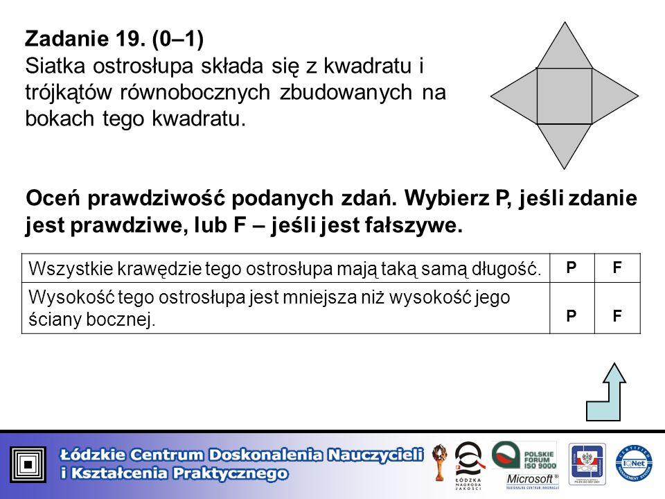 Zadanie 19. (0–1) Siatka ostrosłupa składa się z kwadratu i trójkątów równobocznych zbudowanych na bokach tego kwadratu.