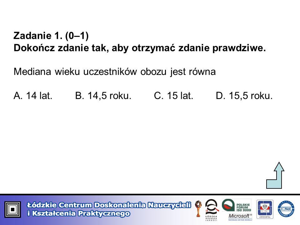 Zadanie 1. (0–1) Dokończ zdanie tak, aby otrzymać zdanie prawdziwe. Mediana wieku uczestników obozu jest równa.