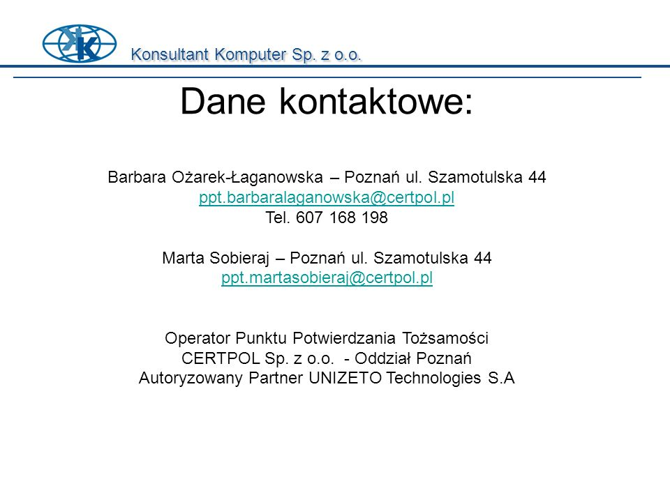 Dane kontaktowe: Konsultant Komputer Sp. z o.o.