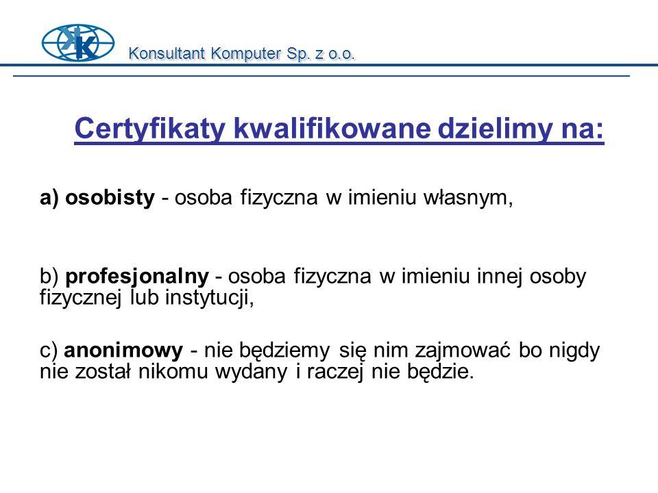 Certyfikaty kwalifikowane dzielimy na: