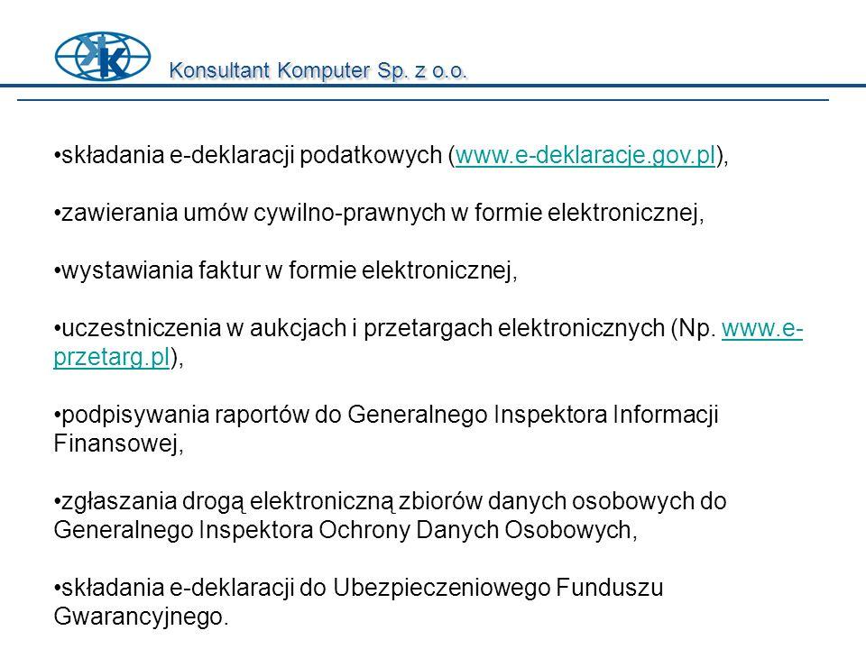składania e-deklaracji podatkowych (www.e-deklaracje.gov.pl),