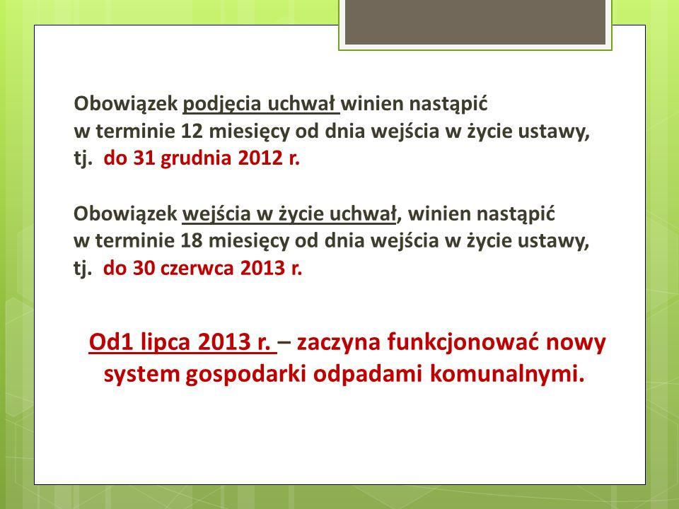 Obowiązek podjęcia uchwał winien nastąpić w terminie 12 miesięcy od dnia wejścia w życie ustawy, tj. do 31 grudnia 2012 r.