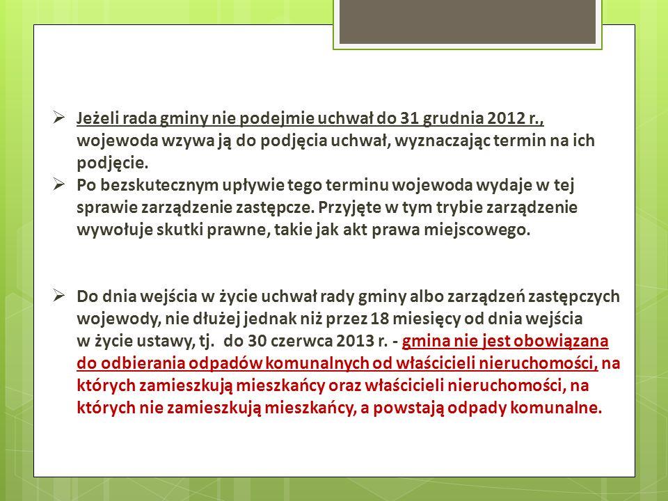 Jeżeli rada gminy nie podejmie uchwał do 31 grudnia 2012 r