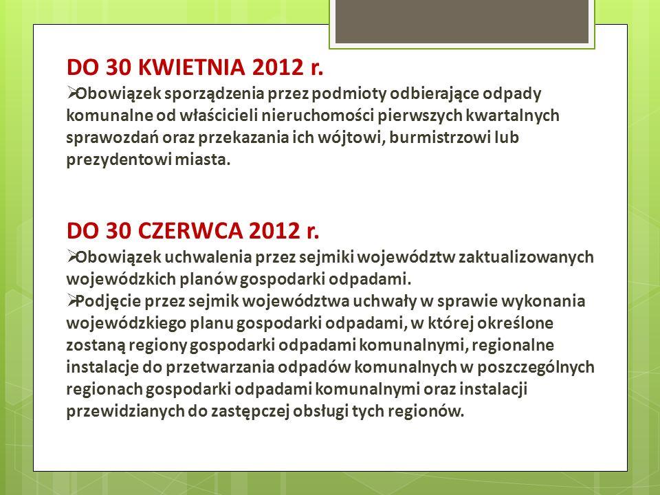 DO 30 KWIETNIA 2012 r. DO 30 CZERWCA 2012 r.